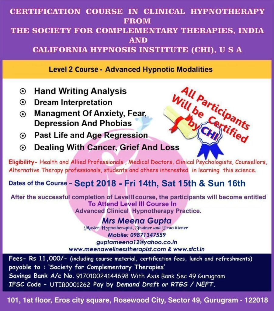 Certificate Course in Hypnotherapy Level 2
